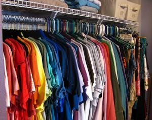 closet of t shirts