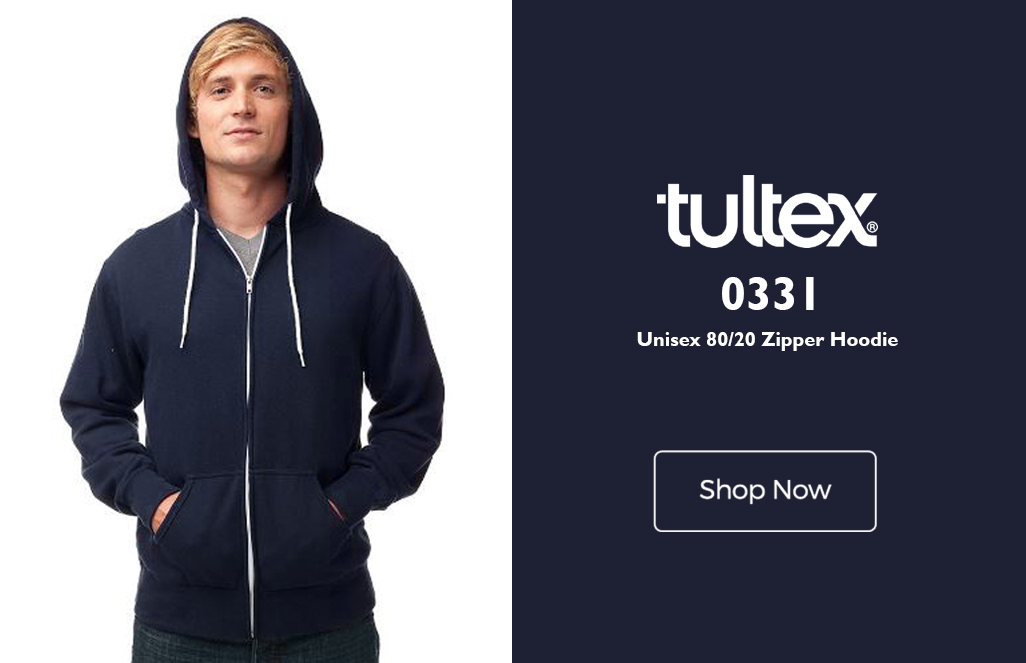 2346df94 The Tultex 0331 fleece is a reactive dyed zip hoodie with ideal features  for rebranding! This unisex 80/20 zip up hoodie is fitted with a tearaway  label and ...