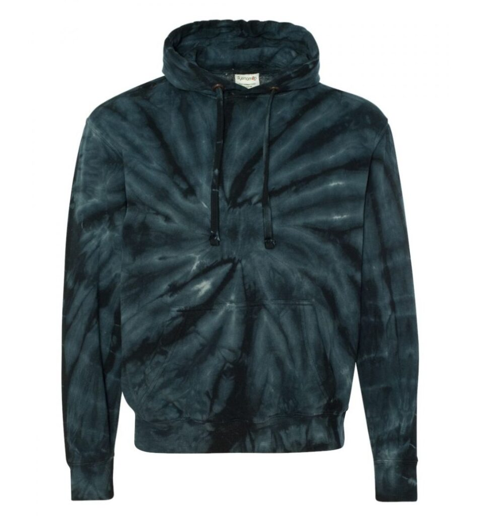 Black tie-dye hoodie links to product page to purchase