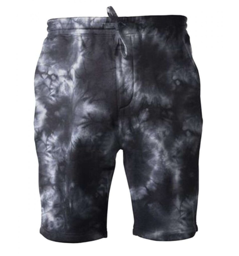 black and gray INDEPENDENT TRADING CO. PRM50STTD TIE-DYED FLEECE SHORTS links to product page to purchase