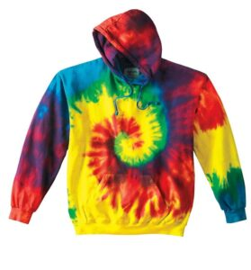 rainbow tie dye hooded sweatshirt links to product page to purchase