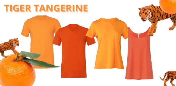 Bella + Canvas wholesale shirts available in shades of Tiger Tangerine Orange