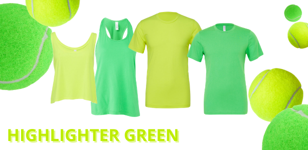 Bella + Canvas wholesale shirts available in shades of Tennis Ball Yellow and Highlighter Green