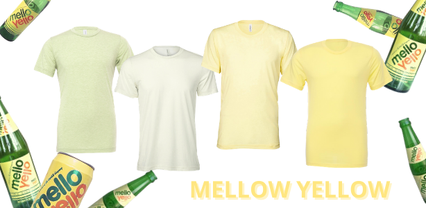 Bella + Canvas wholesale shirts available in shades of Mellow Yellow, Pale Yellow, Yellow, Light Yellow