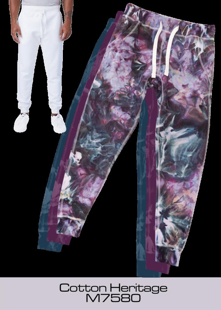 Ice dye tie-dyed premium jogger by Yuiitsu Dye Shop - Cotton Heritage Premium Jogger M7580 ready for tie dye