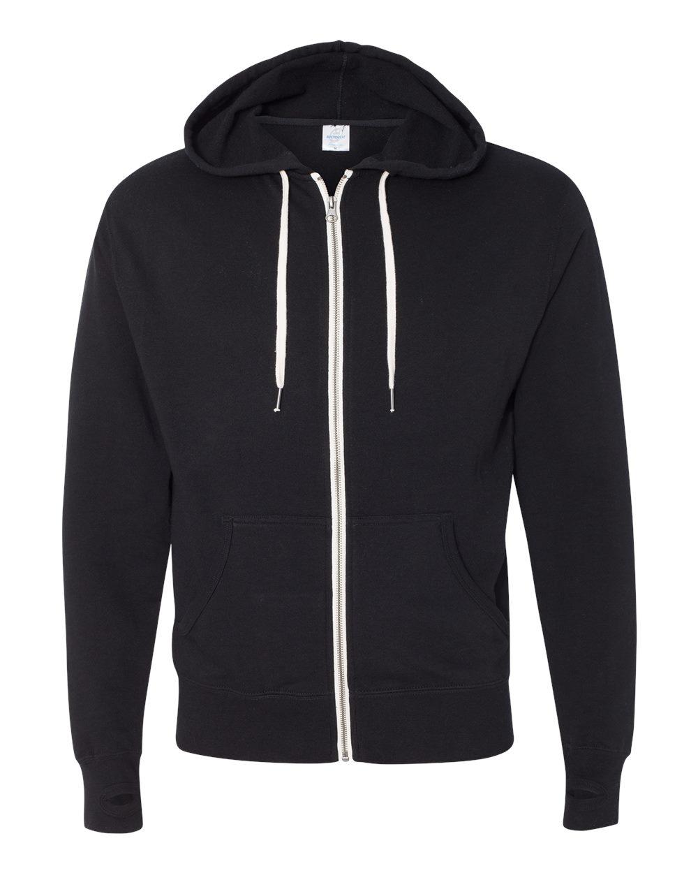 Black pullover hoodie in ecofriendly bamboo. Teal and white colorblock hoodie with kangaroo pocket. Asymmetric sweatshirt, thumbhole hoodie.