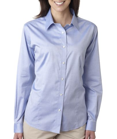 8381 ultraclub ladies 39 non iron cotton pinpoint woven for Ladies non iron shirts