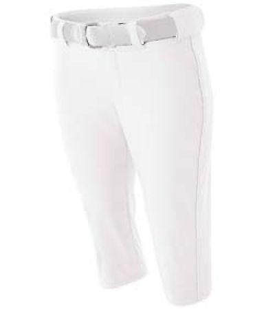 NW6188 A4 Drop Ship Ladies' Softball Pants w/ Piping WHITE