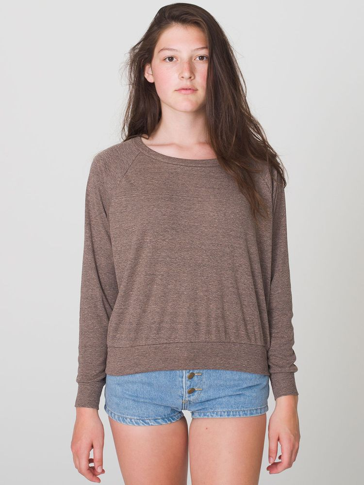 BR394 American Apparel Tri-Blend Lightweight Raglan Pullover. Click the  image to expand