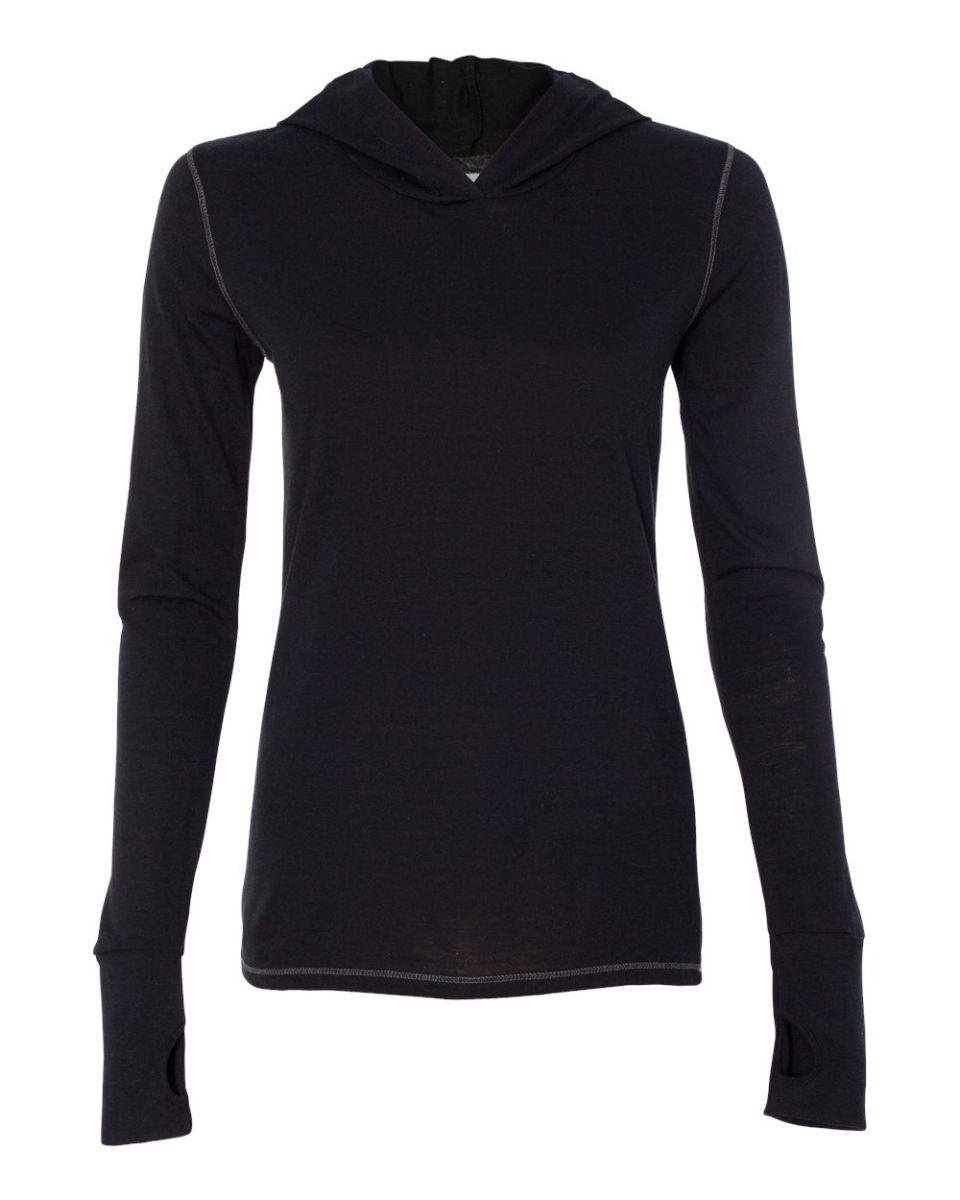 Black t shirt sports -  W3101 All Sport Ladies Triblend Thumbhole Hooded T Shirt Solid Black Triblend
