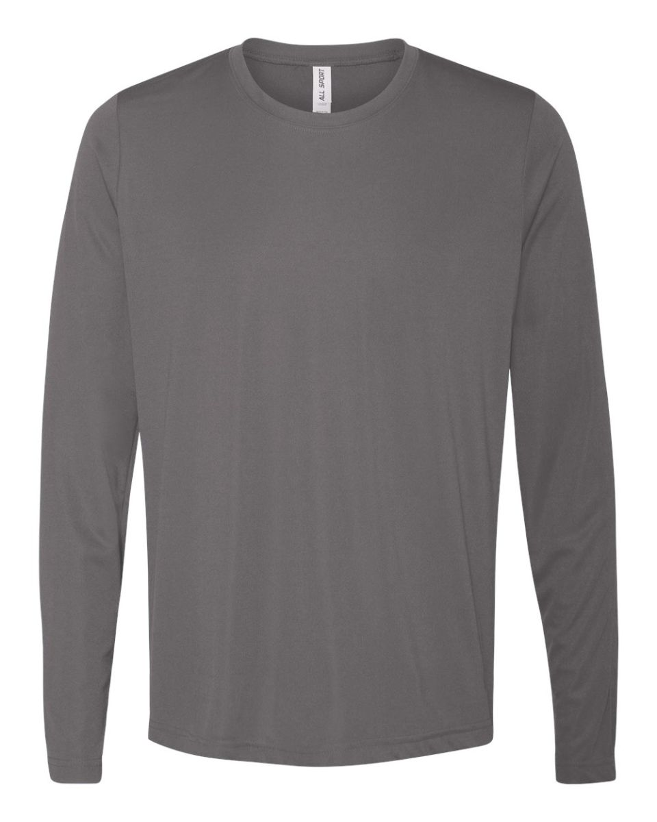 Black t shirt sports -  M3009 All Sport Men S Performance Long Sleeve T Shirt Sport Graphite