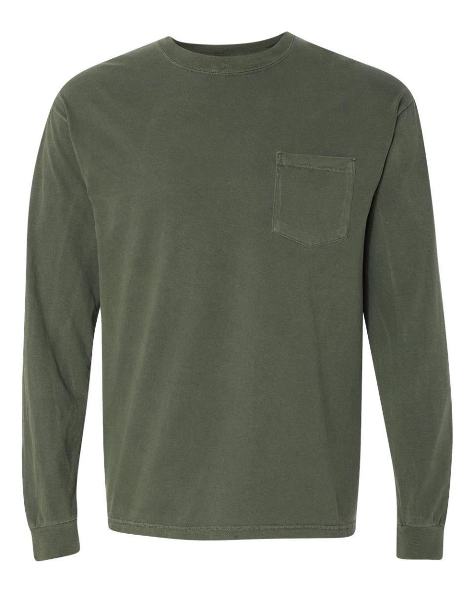 4410 comfort colors long sleeve pocket t shirt blank for Bulk pocket t shirts
