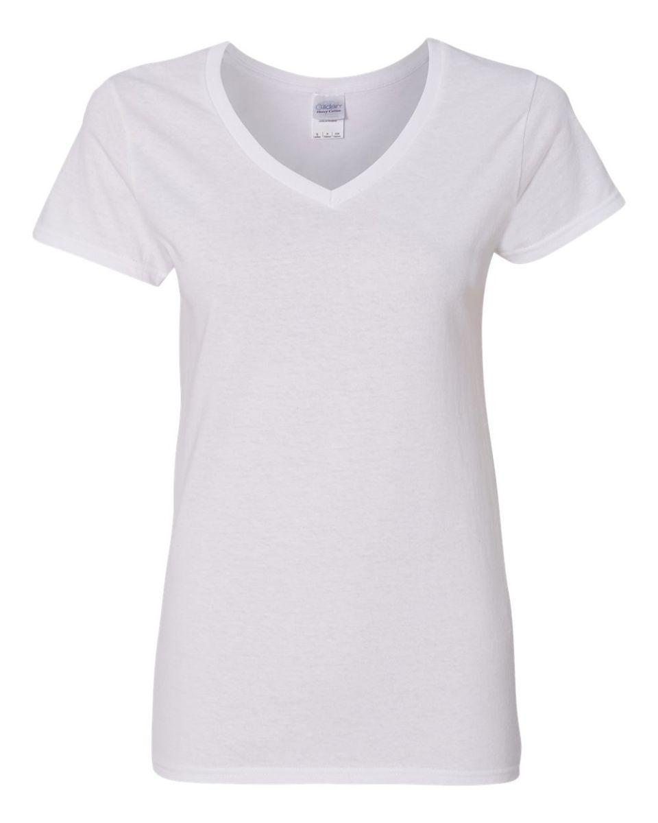 Gildan 5v00l for Best white t shirt women s v neck