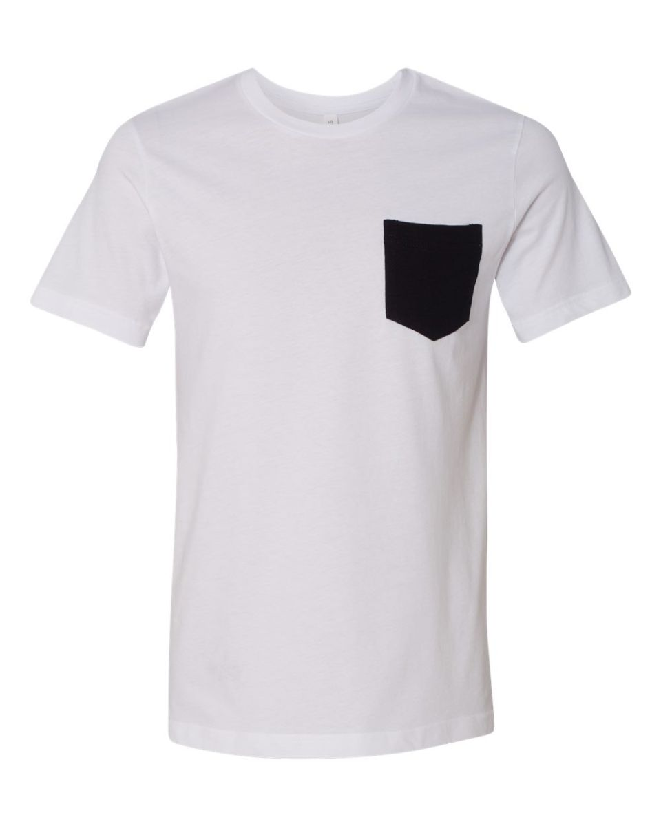 ... BELLA+CANVAS 3021 Unisex Cotton Pocket Tee White/Black ...