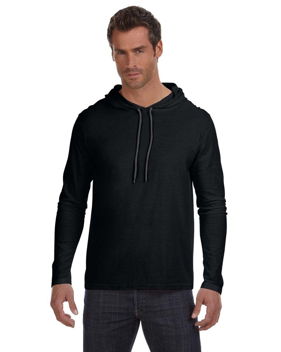 Black t shirt hoodie -  987 Anvil Ringspun Long Sleeve Hooded T Shirt Black Dark Grey