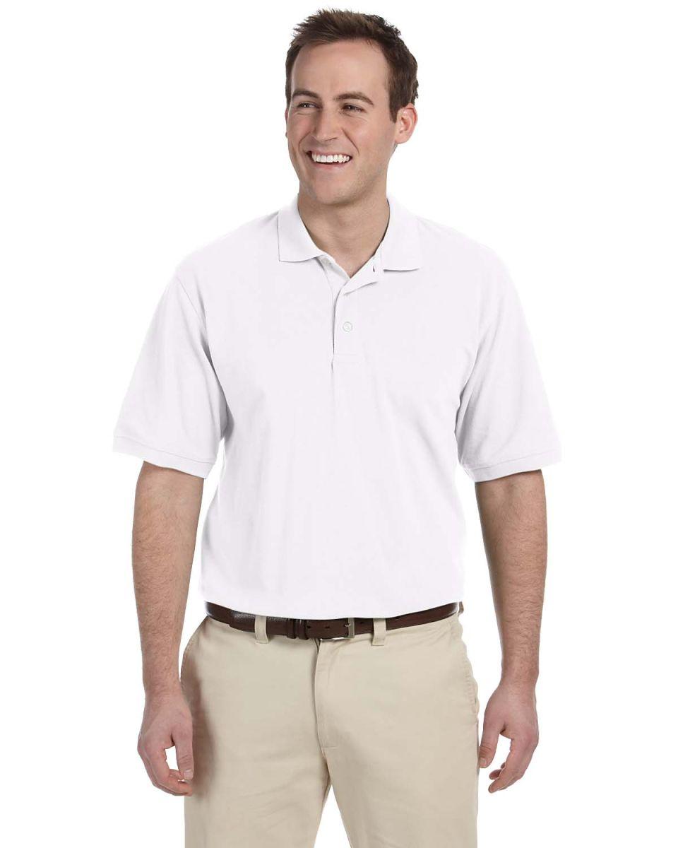 Harriton M265 Men's 5.6 oz. Easy Blend™ Polo WHITE. Click the image to  expand