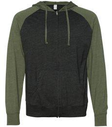 SS155RJZ Independent Trading Co. - Lightweight Jersey Raglan Hooded Full-Zip T-Shirt