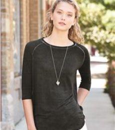 8232 J. America - Women's Oasis Wash 3/4 Sleeve T-Shirt