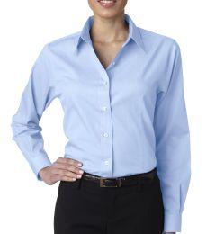 8366 UltraClub® Ladies' Blend Shadow Stripe Woven Shirt