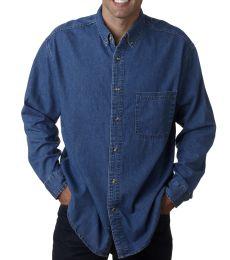 8960 UltraClub® Men's Long-Sleeve Cotton Cypress Denim Woven Shirt with Pocket
