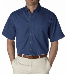 8965 UltraClub® Adult Short-Sleeve Cotton Cypress Denim Woven Shirt with Pocket