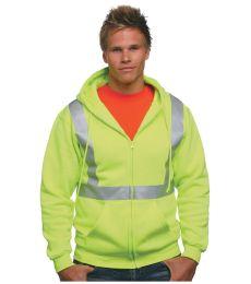 BA3790 Bayside Hi-Visibility Full Zip Hooded Sweatshirt