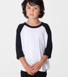 BB153 American Apparel Kids Poly-Cotton 3/4 Sleeve Raglan