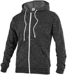 94300 Delta Apparel Adult Unisex Snow Heather French Terry Zip Hoodie