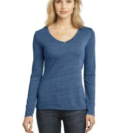 District Made 153 Ladies Textured Long Sleeve V Neck with Button Detail DM472