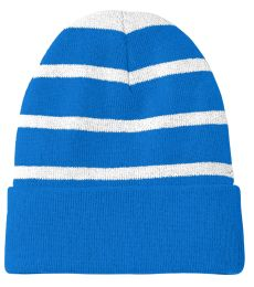 Sport Tek STC31 Sport-Tek Striped Beanie with Solid Band