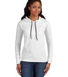 887L Anvil Ladies' Ringspun Long-Sleeve Hooded T-Shirt