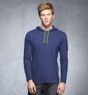 987 Anvil Ringspun Long-Sleeve Hooded T-Shirt...